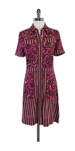 Tory Burch short dress Pink & Maroon Swirl Silk Short Sleeve on Tradesy