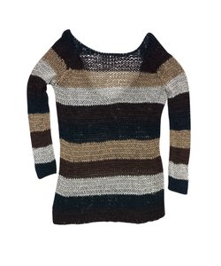 Theory Brown & Green Striped Knit Scoop Back Sweater