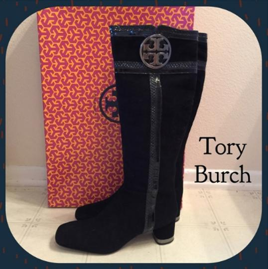 Tory Burch Tb Suede Knee High Black Boots