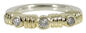 Lagos Lagos Sterling Silver 18K Yellow Gold .10tcw Diamond Stack Ring