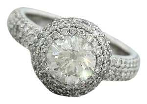 Stunning Ladies Modern 14K 585 White Gold Diamond Halo Engagement Ring
