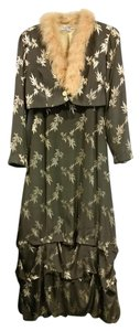 Sue Wong Silk Pattern Lining Faux Fur Dress
