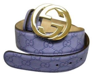 Gucci NEW Guccissima Leather Belt Interlocking G Buckle Blue SZ 80/32 114876