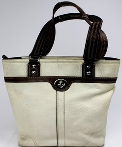 Coach Pebbled Leather Tote in White