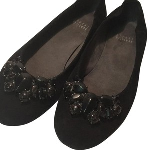 Stuart Weitzman Suede Suede Lining Embellished Stone Accent BLACK SUEDE Flats