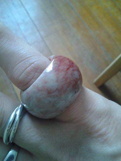 Handmade SALE New GORGEOUS Boho Solid Agate Stone Pink Berry Grey Carved COCKTAIL RING Band Huge Chunky Statement Handmade Sz 9