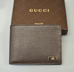 c381ac02c20f55 Gucci Leather Wallet w/ Coin Purse Pocket Brown 143384 2038