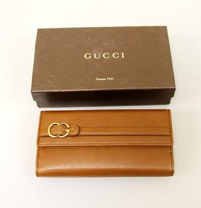 Gucci Leather Clutch Continental WALLET w/Coin Pocket Brown 270002
