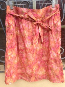 Brooks Brothers Floral Print Front Bow Skirt Pink