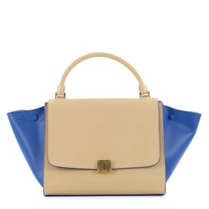 Céline Celine Leather Tote in Beige and Blue