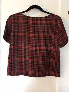 Topshop Crop Top red plaid