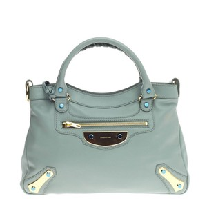 Balenciaga Leather Tote in Light Blue
