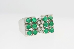 Vintage Emerald and Diamond Cluster Ring - 14k White Gold