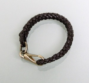 Gucci New Leather Woven Braided Bracelet Unisex Dark Brown SZ 20 246147