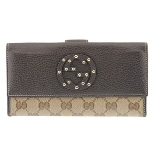 Gucci GUCCI Outlet GG Brown PVC Purse Wallet Clutch Bag Men