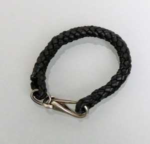 Gucci New Leather Woven Braided Bracelet Unisex Black SZ 19 246147
