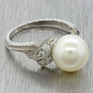 Mikimoto Mikimoto 14k Solid White Gold 9.5mm Pearl Diamond Cocktail Ring