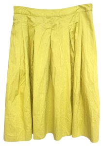 Talbots Pleated Skirt Yellow Green