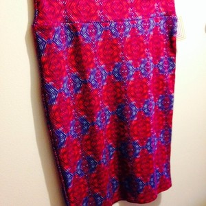 LuLaRoe Skirt Red w/purple & mint green