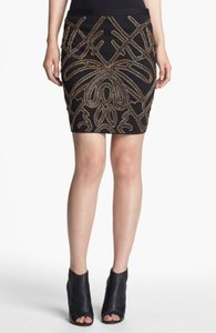 Haute Hippie Pencil Beaded Embellished Black Mini Skirt Beaded black