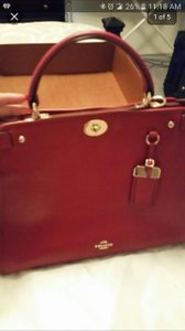 Coach Gramercy Leather Satchel in RED