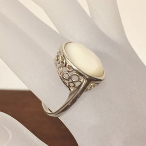 Free People Mother Of Pearl Bezel Set Antique Victorian 925 Sterling Ring