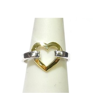 Tiffany & Co. Retired, Rare, and Pretty!!Authentic Guaranteed! Tiffany & Co. 18K Yellow Gold and Sterling Silver Heart Ring Size 6 1/2 Stamped Tiffany & Co. 925 750 Ring Weight: 2.3 grams Heart Measurements: 12x10mm