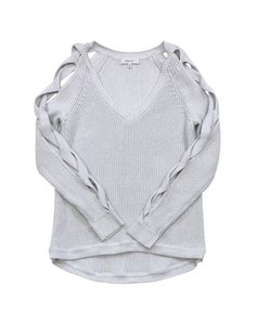 MILLY Light Grey Braided Sleeve V-neck Sweater