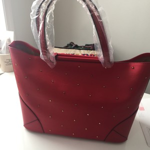 MCM Studded Tote in Red