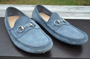 Gucci Suede Horsebit Loafers Blue Flats