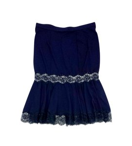 Blumarine Navy Beaded Lace Skirt