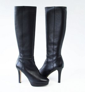 Jimmy Choo Platform Knee High Leather Black Boots