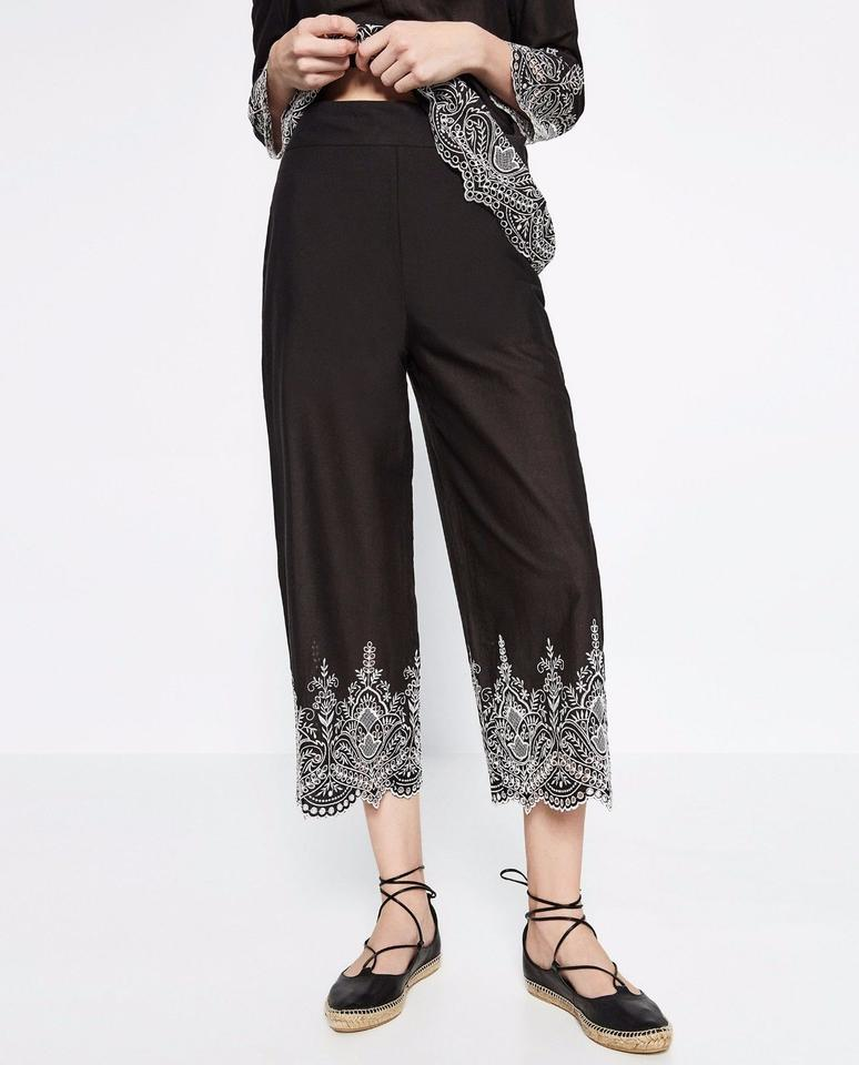 45185915 Zara Black Embroidered Trousers Capris Size 8 (M, 29, 30) - Tradesy