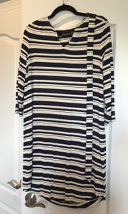 Cynthia Rowley short dress Blue and White Stretch Stripe Belted on Tradesy