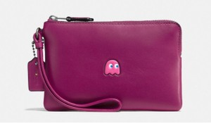 Coach Pac Man Limited Edition Leather Pnk Wristlet in pink