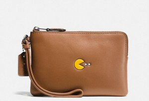 Coach Pac Man Limited Edition Leather Wristlet in tan