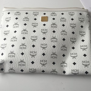 MCM Monogram Leather White Clutch