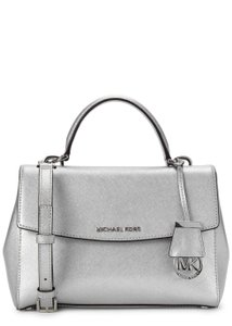 Michael Kors Rare Logo Charm Metallic Saffiano Leather Cross Body Bag