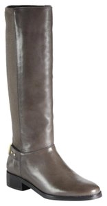 Cole Haan Leather Equestrian Knee High Dark Dull Gray Boots