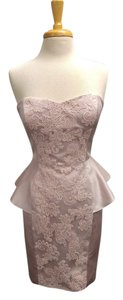 Badgley Mischka Satin Lace Peplum Dress