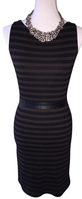Item - Black & Brown Striped Lamb Leather Trimmed Mid-length Work/Office Dress Size 4 (S)