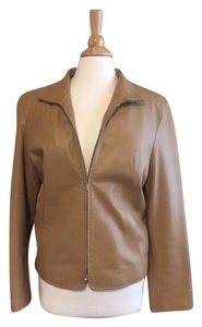 Michael Kors Leather Vintage Soft Classic Dark golden camel Leather Jacket