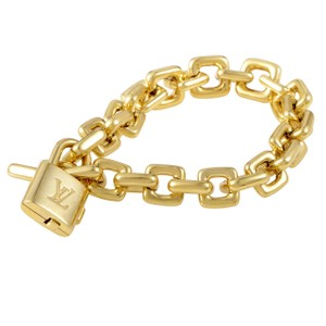 Louis Vuitton Louis Vuitton Paris 18k Yellow Gold Padlock And Key Bracelet