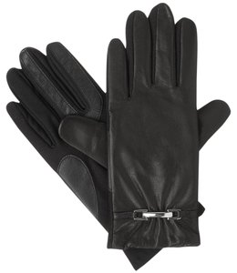 Isotoner Black Leather Stretch Buckle smarTouch Lined Womens Gloves M L
