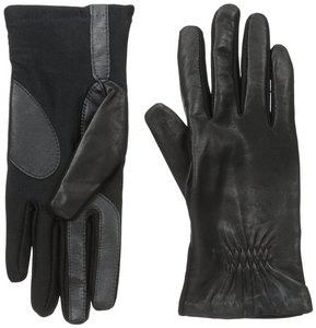 Isotoner Black Leather Stretch Gathered smarTouch Lined Womens Gloves XL