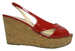 L.K. Bennett Patent Leather Sandals Red Wedges