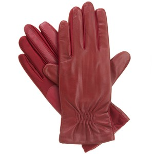Isotoner Red Leather Stretch Gathered smarTouch Lined Womens Gloves M L