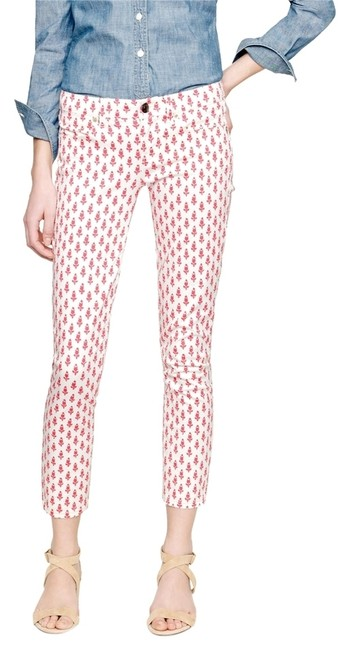 Item - White with Coral Print Thistle Matchstick Pants Size 10 (M, 31)