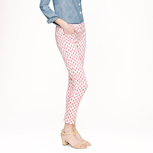 J.Crew Capri/Cropped Pants white with coral print