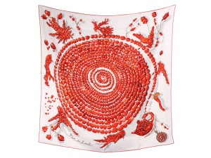 Herms Hermes Reve de Corail Scarf Red White Cream Coral